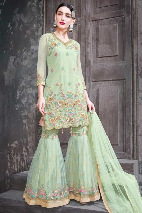 Embroidery Pastel Green Net Sharara Suit Design