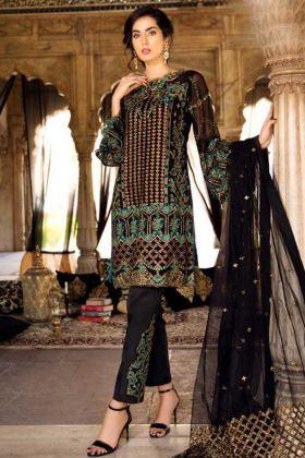 Embroidery Work Black Color Heavy Georgette Pakistani Suit