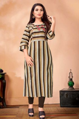 Embroidery Work Brown And Grey Cotton Kurti