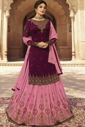 Embroidery Work Georgette Lehenga Choli Suit With Wine Color
