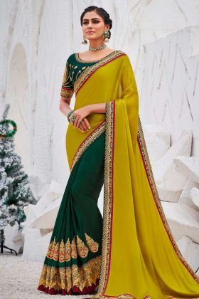 Embroidery Work Olive Green Color Satin Georgette Saree