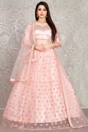 Embroidery Work Peach Color Heavy Net Lehenga Choli For Bridal