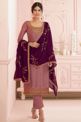 Embroidery Work Satin Georgette Light Brown Straight Salwar Kameez