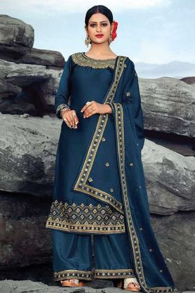 Embroidery Work Satin Georgette Navy Blue suit