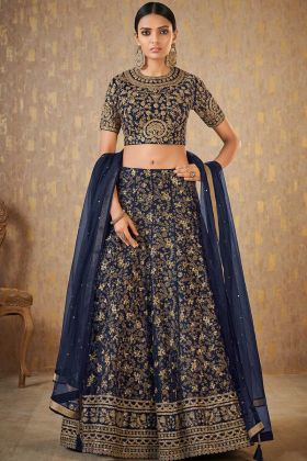 Embroidery Work With Navy Blue Bridal Lehenga Choli