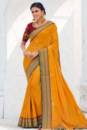 Embroidery Work Yellow Color Satin Georgette Saree For Haldi