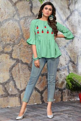 Embroidery Hand Work Mint Color Galaxy Cotton Tunic Tops