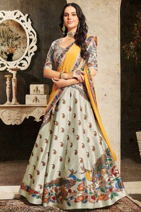 Embroidery Heavy Work White Color Pure Heritage Soft Silk Lehenga Choli