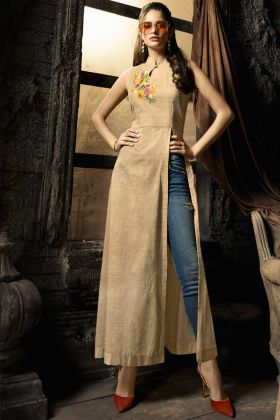 Embroidery Linen Cotton Designer Kurti In Beige Color
