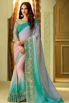 Embroidery Multi Color Luxury Silk Saree