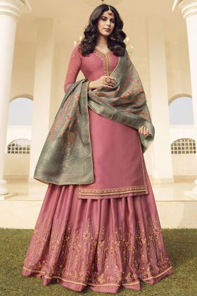 Embroidery Pink Georgette Satin Sharara Suit