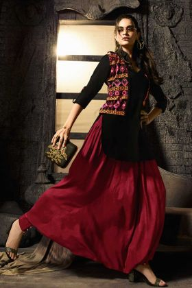 Embroidery Pure Cotton Jacket Style Kurti In Black Color