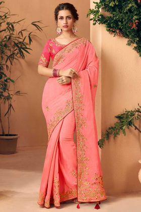 Embroidery Work Art Silk Designer Saree In Light Pink Color