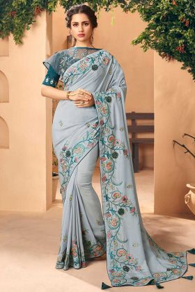 Embroidery Work Art Silk Party Wear Saree In Grey Color