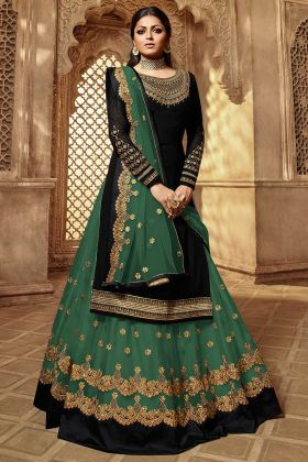 Embroidery Work Black Color Georgette Indo Western Dress
