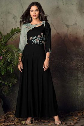 Embroidery Work Black Color Heavy Rayon Long Kurti