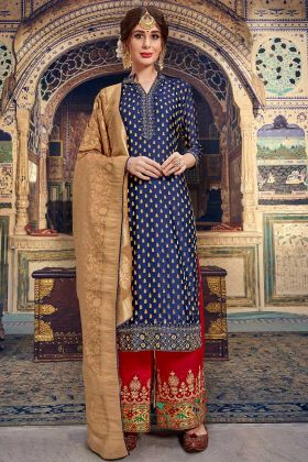 Embroidery Work Blue Color Banarasi Jacquard Palazzo Salwar Kameez