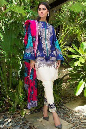 Embroidery Work Blue Color Heavy Cotton Pakistani Salwar Kameez