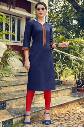 Embroidery Work Blue Color Heavy Soft Cotton Fancy Kurti