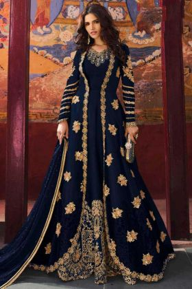 Embroidery Work Blue Color Jacket Style Net Anarkali Salwar Kameez