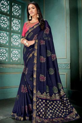 Embroidery Work Blue Color Vichitra Silk Wedding Saree