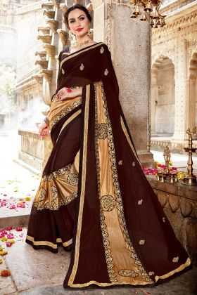 Embroidery Work Brown Color Fancy Fabric Party Wear Saree