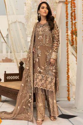 Embroidery Work Brown Color Heavy Faux Georgette Pakistani Salwar Kameez