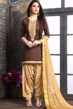 Embroidery Work Brown Color Jam Silk Cotton Patiala Dress With Nazmin Dupatta