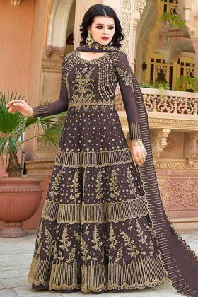 Embroidery Work Brown Color Net Indo Western Dress