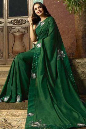 Embroidery Work Chanderi Green Saree