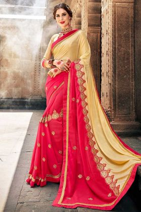 Embroidery Work Cream And Pink Color Fancy Fabric Designer Saree