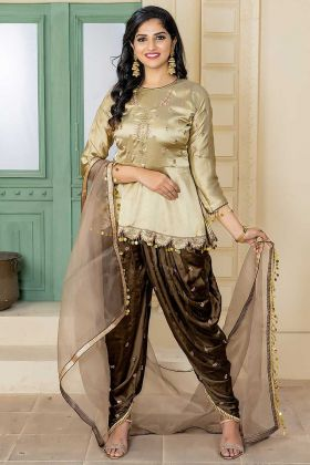 Embroidery Work Cream Color Malai Satin Patiala Salwar Kameez