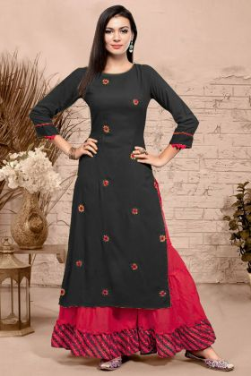Embroidery Work Dark Grey Color Rayon Sharara Salwar Kameez
