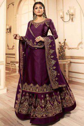 Embroidery Work Dark Purple Color Georgette Satin Indo Western Salwar Suit