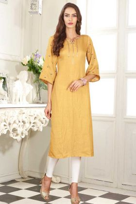 Embroidery Work Dolla Silk Fancy Kurti In Mustard Color