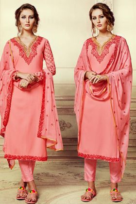Embroidery Work Georgette Pant Style Suit Peach Color With Chiffon Dupatta