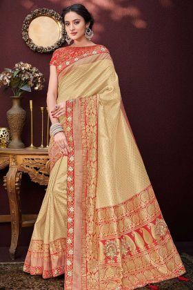 Embroidery Work Golden Color Banarasi Silk Jacquard Wedding Saree