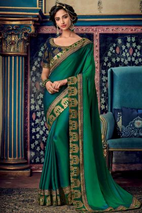 Embroidery Work Green Color Fancy Fabric Wedding Saree