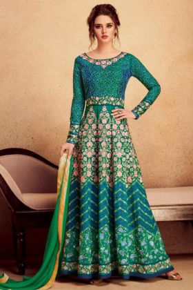 Embroidery Work Green Color Heavy Silk Anarkali Salwar Kameez