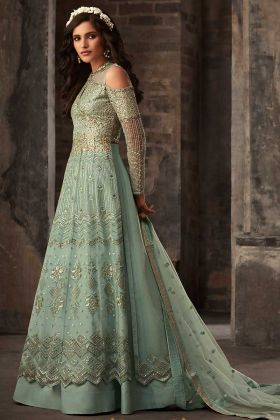 Embroidery Work Green Color Net Designer Salwar Suit