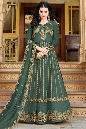 Embroidery Work Green Color Net Indo Western Salwar Kameez