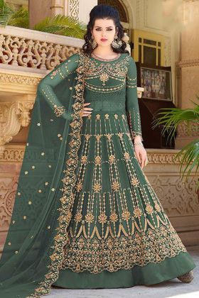 Embroidery Work Green Color Net Indo Western Salwar Kameez