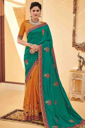 Embroidery Work Green Color Poly Silk Party Wear Saree