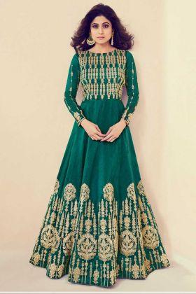 Embroidery Work Green Color Royal Silk Anarkali Dress