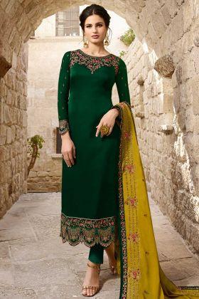 Embroidery Work Green Color Satin Georgette Pant Style Salwar Kameez