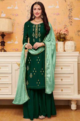 Embroidery Work Green Color Satin Georgette Sharara Salwar Kameez