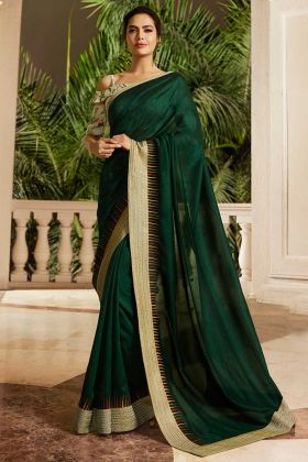 Embroidery Work Green Color Satin Silk Saree