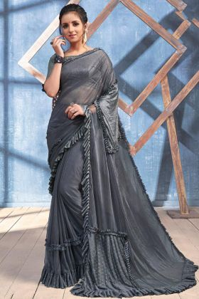 Embroidery Work Grey Color Imported Heavy Lycra Designer Ruffle Saree