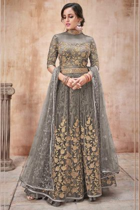 Embroidery Work Grey Color Net Anarkali Salwar Kameez