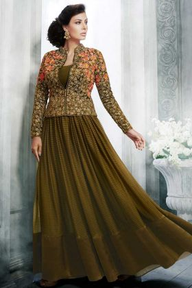 Embroidery Work Handloom Jacket Style Suit In Olive Color